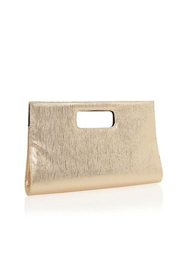 Large Metallic Shimmer Clutch with Cutout Handle,GOLD,large