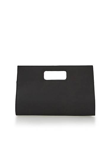 Large Cutout Handle Clutch,BLACK,large