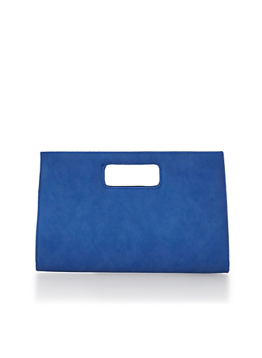Large Cutout Handle Clutch,BLUE,large