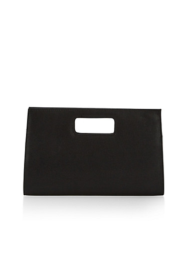 Large Clutch with Cutout Handle,BLACK,large