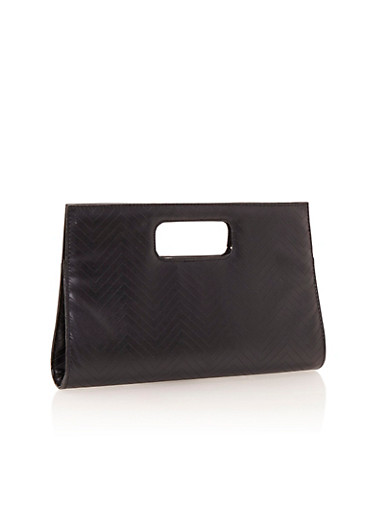 Cutout Handle Clutch in Chevron,BLACK,large