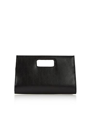 Large Cutout Handle Clutch,BLACK,large