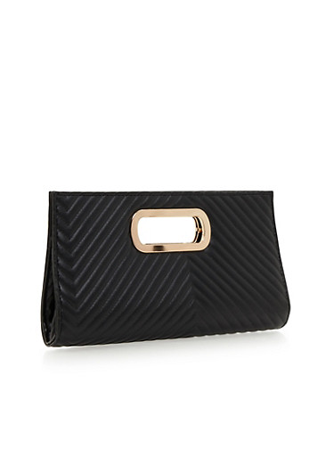 Metal Handle Faux Leather Clutch,BLACK,large