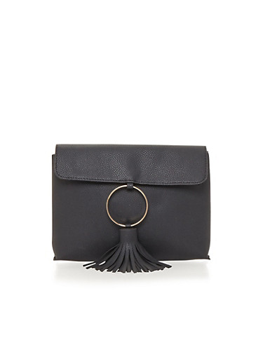 Faux Leather Clutch with Ring and Tassel Detail,BLACK,large