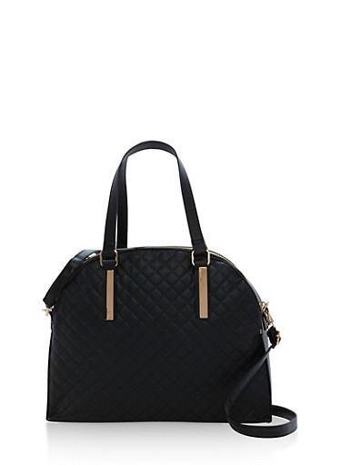 Large Quilted Double Zip Satchel Bag,BLACK,large