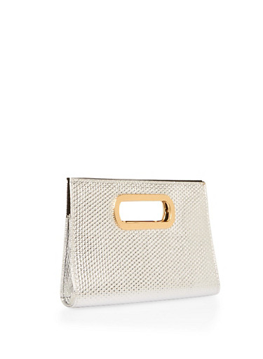 Embossed Faux Leather Metallic Handle Clutch,SILVER,large