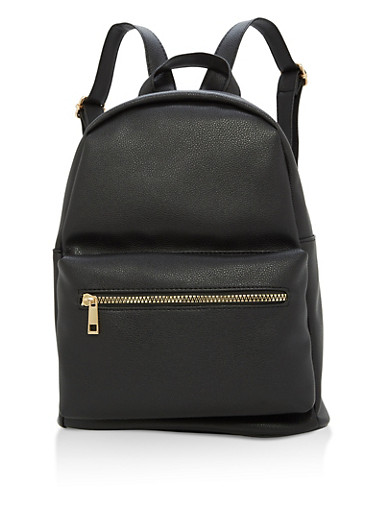 Textured Faux Leather Backpack,BLACK,large