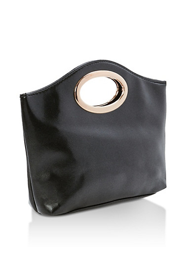 Faux Leather Clutch with Oval Handle,SHINY BLACK,large