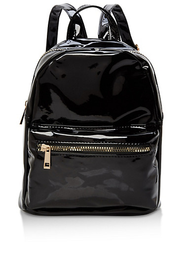 Small Double Zip Backpack,BLACK,large