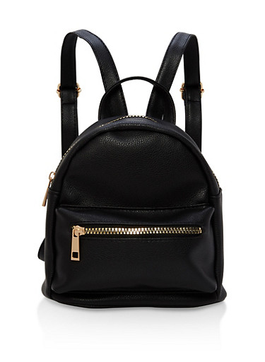 Mini Double Zip Faux Leather Backpack,BLACK,large