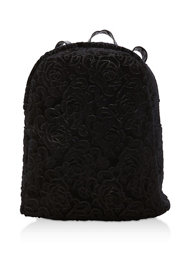 Embossed Rose Velvet Backpack,BLACK,large