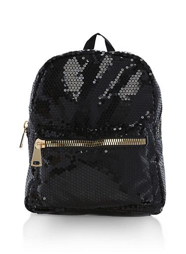 Sequin Zipper Backpack,BLACK,large
