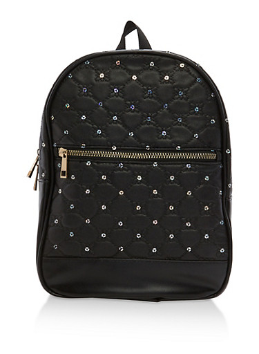 Quilted Stitched Sequin Backpack,BLACK/ABS,large