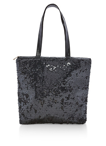 Reversible Sequin Tote Bag,BLACK/SILVER,large