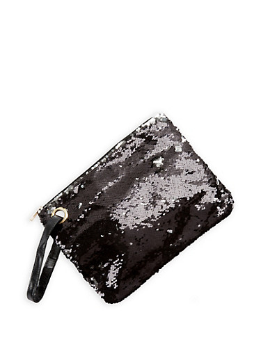Large Reversible Sequined Clutch,BLACK/SILVER,large