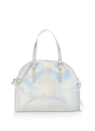 Holographic Double Zip Bowler Bag,SILVER,large
