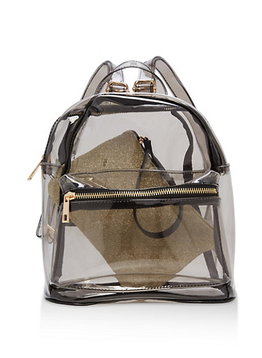 Clear Mini Backpack with Quilted Pouch,SMOKE/GOLD,large
