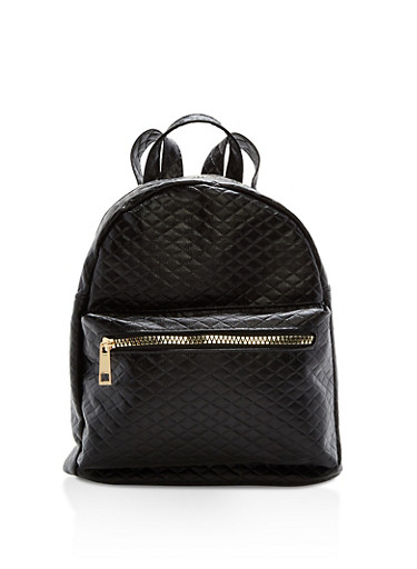 Small Quilted Faux Leather Backpack,BLACK,large