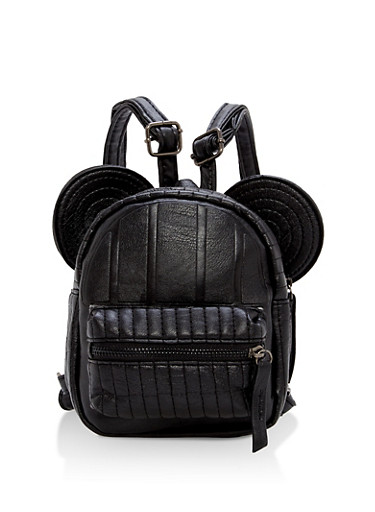 Textured Faux Leather Mouse Ears Mini Backpack,BLACK,large