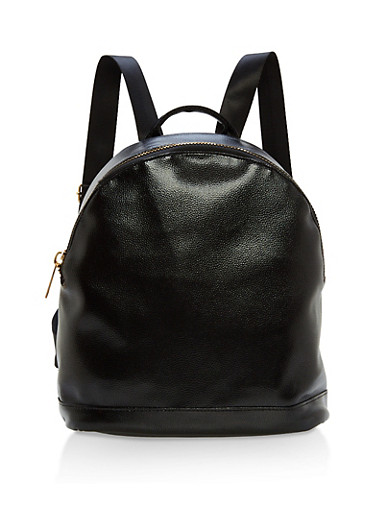 Faux Textured Leather Zip Backpack,BLACK,large