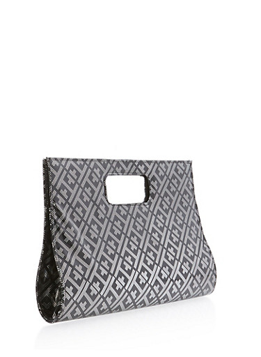 Embossed Faux Patent Leather Clutch,BLACK/SILVER,large