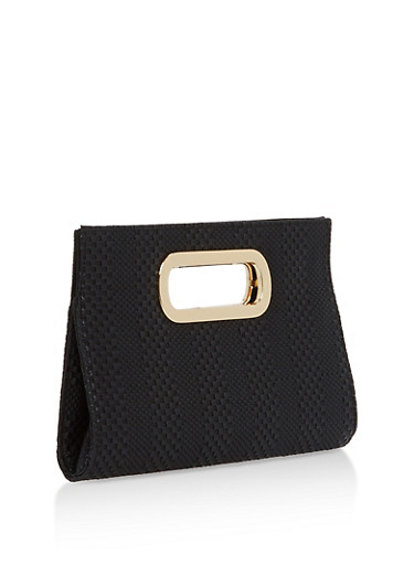 Faux Leather Woven Clutch,BLACK,large