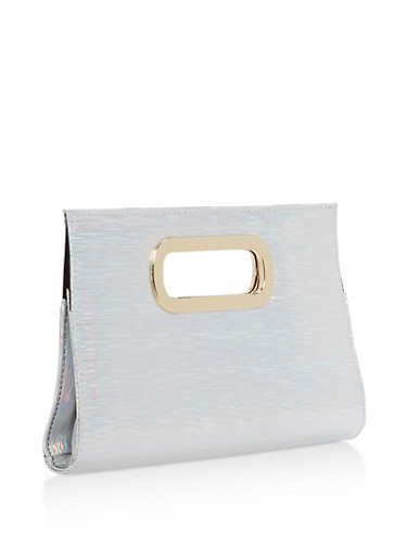 Holographic Clutch,SILVER,large