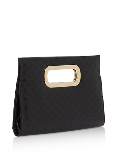 Faux Leather Quilted Clutch,BLACK,large