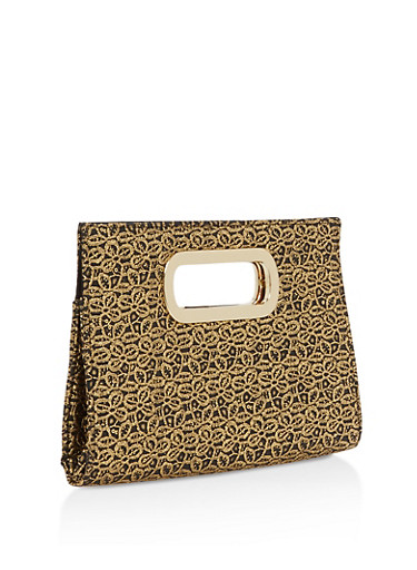 Coated Metallic Lace Clutch,BLACK/GOLD,large