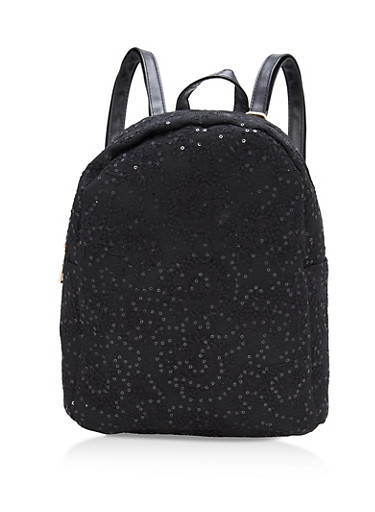 Sequin Lace Backpack with Faux Leather Trim,BLACK,large