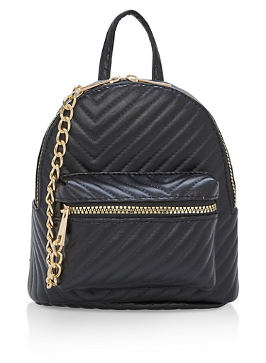 Quilted Chevron Chain Mini Backpack,BLACK,large