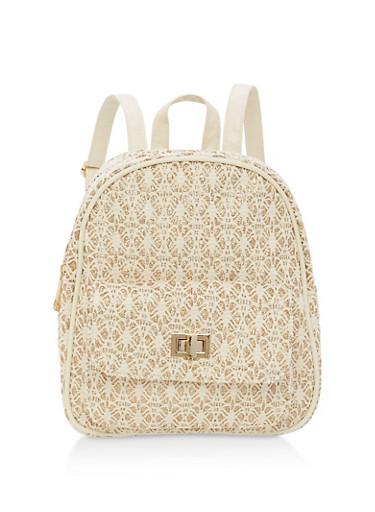 Glitter Crochet Backpack,IVORY/GOLD,large