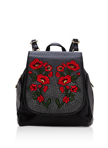 Textured Faux Leather Floral Embroidered Backpack,BLACK,large