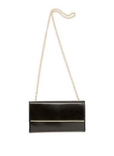 Rectangular Faux Leather Crossbody Bag,BLACK,large
