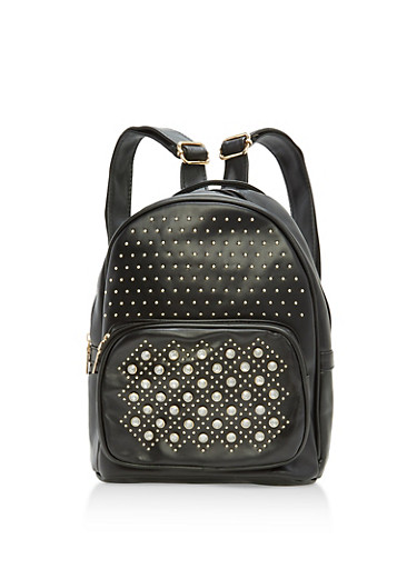 Rhinestone Studded Faux Leather Backpack,BLACK,large