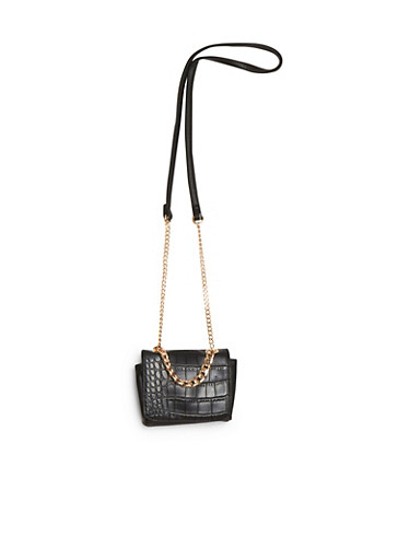 Faux Snake Skin Mini Cross Body Bag,BLACK,large