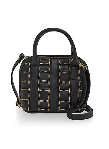 Faux Leather Bag with Zipper Accent,BLACK/GOLD ZIP,large