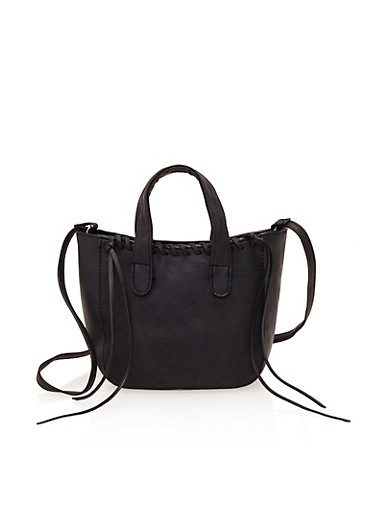 Small Satchel Bag with Stitched Trim,BLACK,large