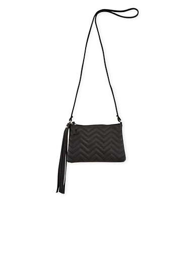 Faux Leather Chevron Quilted Crossbody Bag,BLACK,large