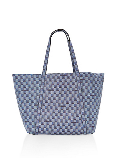 Printed Faux Leather Tote Bag,BLUE,large