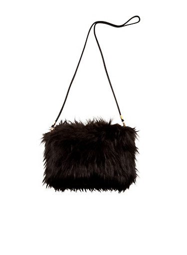 Faux Fur Convertible Crossbody Bag,BLACK,large