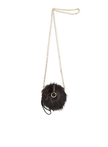 Faux Fur Evening Bag with Convertible Straps,BLACK,large