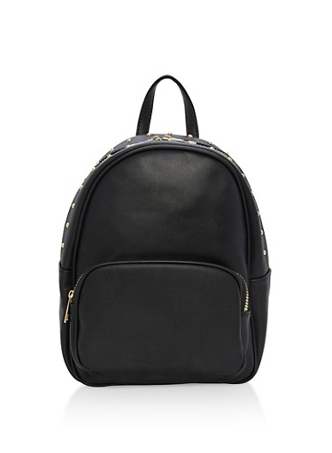 Studded Edge Faux Leather Backpack,BLACK,large