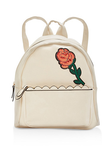 Sequin Rose Patch Faux Leather Backpack,TAN,large