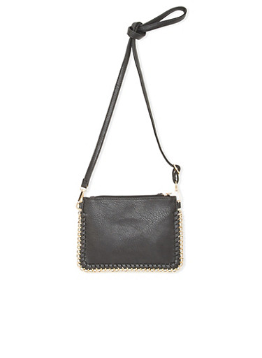Faux Leather Crossbody Bag with Woven Metal Trim,BLACK,large