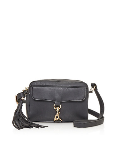 Crossbody Bag with Buckle Accent and Tassel,BLACK,large