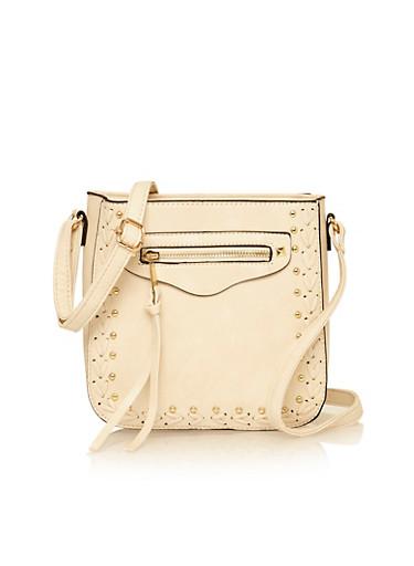 Woven Studded Faux Leather Crossbody Bag,BONE,large
