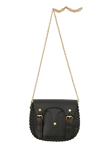 Double Strapped Stitch Trim Crossbody Bag,BLACK,large