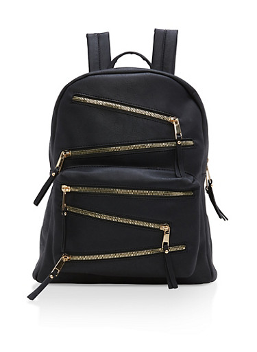 Faux Leather Asymmetrical Zip Backpack,BLACK,large