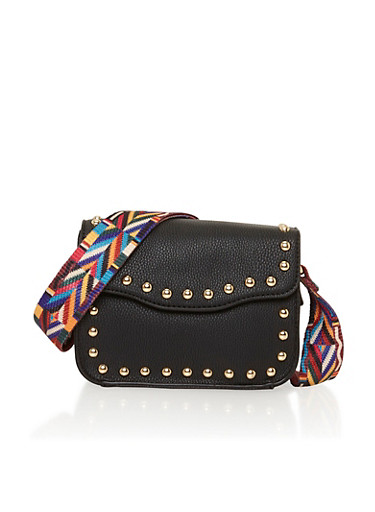Faux Leather Studded Crossbody Bag with Multi Color Strap,BLACK,large